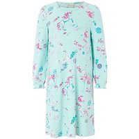 Monsoon Veronica Unicorn Nightdress, Aqua, Size 2-3 Years, Women