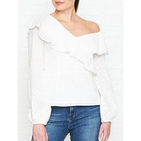 Perseverance London Ditsy Cotton Anglaise Asymmetric Blouse - Off White