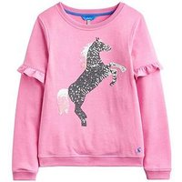 Joules Girls Tiana Unicorn Frill Sweatshirt, Light Pink, Size Age: 11-12 Years, Women