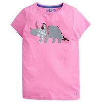 Joules Girls Astra Sequin Dino T Shirt, Pink, Size Age: 11-12 Years, Women