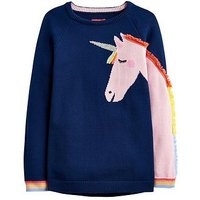 Joules Girls Gee Gee Unicorn Knitted Jumper, Navy, Size Age: 4 Years, Women