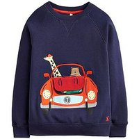 Joules Toddler Boys Ventura Car Applique Sweatshirt, Navy, Size 5 Years
