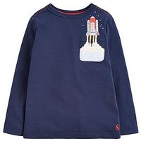 Joules Toddler Boys Winston Rocket Long Sleeve T Shirt, Navy, Size 1 Year