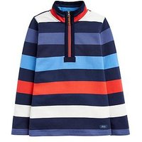 Joules Boys Dale Stripe Half Zip Sweat, Blue, Size 11-12 Years