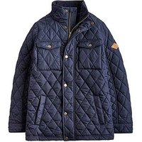 Joules Boys Stafford Quilted Coat, Navy, Size Age: 6 Years