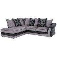Product photograph showing Milan Faux Leather And Fabric Left Hand Corner Chaise Scatter Back Sofa