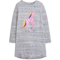 Joules Toddler Girls Kaye Long Sleeve Unicorn Jersey Dress, Navy, Size 1 Year, Women