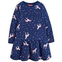 Joules Toddler Girls Josie Long Sleeve Unicorn Dress, Navy, Size 3 Years, Women