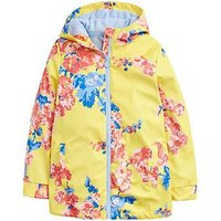 Joules Girls Raindance Floral Rubber Coat, Yellow, Size 7-8 Years, Women