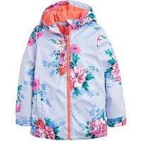 Joules Girls Raindance Stripe Floral Rubber Coat - Sky Blue, Sky Blue, Size 3 Years, Women