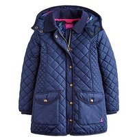 Joules Girls Newdale Quilted Coat, Navy, Size 5 Years, Women