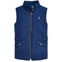 Joules Girls Jilly Quilted Gilet, Navy, Size 7-8 Years, Women