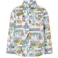Boys, Monsoon Charlie Safari Long Sleeve Shirt, Ivory, Size 6-12 Months