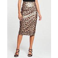 V By Very Petite Leopard Print Pencil Skirt