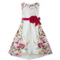 Monsoon Calypso Rose Print Dress, Ivory, Size 11 Years, Women