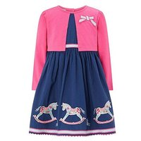 Monsoon Baby Reese Rocking Horse Dress, Navy, Size 18-24 Months