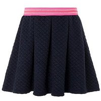Monsoon Quinn Quilted Skirt, Navy, Size Age: 11-12 Years, Women