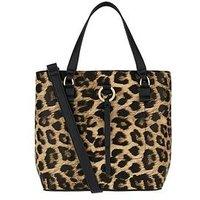 Accessorize Leopard Double Bucket Bag - Multi, Leopard, Women