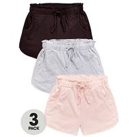 V by Very Girls 3 Pack Frill Trim Jersey Shorts - Multi, Multi, Size Age: 6 Years, Women