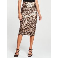V By Very Coated Pencil Skirt - Animal Print