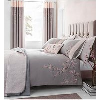 Product photograph showing Catherine Lansfield Embroidered Blossom Duvet Cover Set