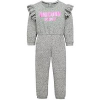Mini V by Very Girls Unicorn Brushed Jumpsuit - Grey, Grey, Size 6-9 Months, Women