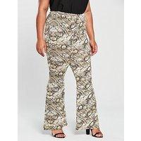 V by Very Curve Snake Kickflare Trouser - Printed, Snake, Size 26, Women