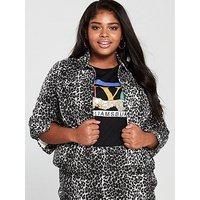 V by Very Curve Animal Denim Jacket - Printed, Print, Size 28, Women