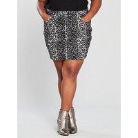 V by Very Curve Animal Denim Skirt - Printed, Print, Size 28, Women