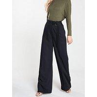 V by Very Buckle Wide Leg Trousers - Black, Black, Size 12, Women