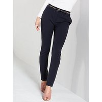 V by Very Chain Belted Slim Leg Trousers - Navy, Navy, Size 14, Women