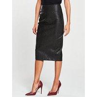 V By Very Snake Textured Pencil Skirt - Black