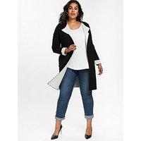 Evans Contrast Coatigan - Black, Black, Size 22-24, Women