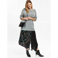 Evans Patchwork Asymmetric Skirt - Black, Black, Size 18, Women