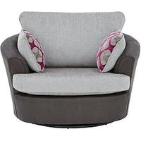 Moreno Faux Snakeskin And Fabric Swivel Chair