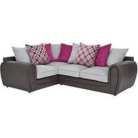 Product photograph showing Moreno Faux Snakeskin And Fabric Left Hand Corner Chaise Scatter Back Sofa