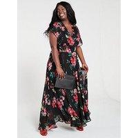V By Very Curve Ruffle Printed Maxi Dress