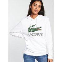 Lacoste Big Croc Hooded Sweatshirt - White , White, Size M, Women