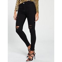 V by Very Short Ella High Waisted Thigh Rip Skinny Jeans - Black, Black, Size 12, Inside Leg Short, Women