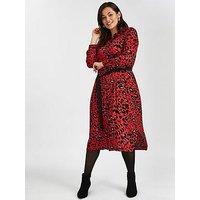 Evans Red Leopard Print Midi Shirt Dress, Red, Size 28, Women