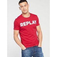 Replay Logo T Shirt, Red, Size L, Men