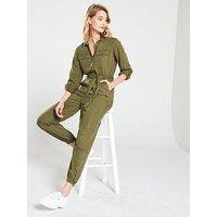 V by Very Button Through Jumpsuit - Khaki, Khaki, Size 12, Women