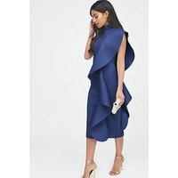 Lavish Alice Scuba Frilled Midi Dress, Cobalt Blue, Size 16, Women