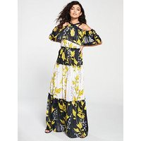 Forever Unique Birdie Leaf Print Cold Shoulder Maxi Dress - Multi