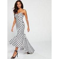 Forever Unique Anselma Strapless Polka Dot Fluted Hem Dress - Ivory Black