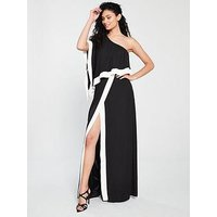 Forever Unique Keen One Shoulder Maxi Dress - Black Ivory