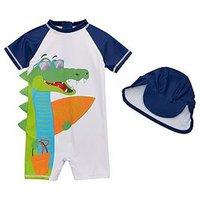Mini V by Very Boys #Snappy Vibes Crocodile Sunsafe & Hat Set - Navy/White, Navy/White, Size Age: 4-5 Years