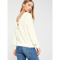 V by Very Braided Cable Cut Out Back Boat Neck Jumper - Cream, Cream, Size 10, Women