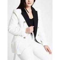 RI Plus Contrast Collar Blazer - White, White, Size 24, Women