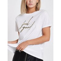 RI Petite Ri Petite Feel Good Slogan T-shirt - White, White, Size 6, Women